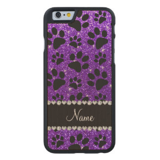 Patas púrpuras del perro negro del brillo del añil funda de iPhone 6 carved® de arce