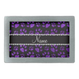 Patas púrpuras personalizadas del gato del brillo  hebillas cinturon rectangulares