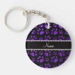 Patas púrpuras personalizadas del gato del brillo  llaveros