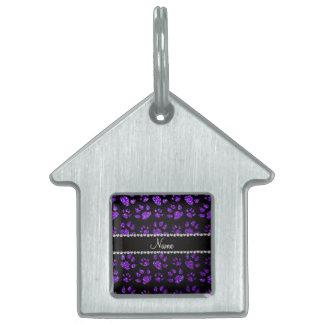 Patas púrpuras personalizadas del gato del brillo placas de mascota