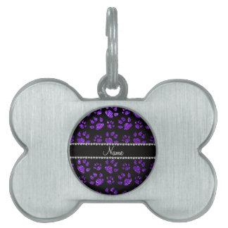 Patas púrpuras personalizadas del gato del brillo placa mascota