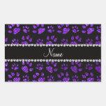 Patas púrpuras personalizadas del gato del brillo rectangular pegatinas