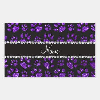 Patas púrpuras personalizadas del gato del brillo pegatina rectangular