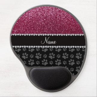 Patas púrpuras personalizadas del negro del brillo alfombrillas con gel