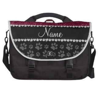 Patas púrpuras personalizadas del negro del brillo bolsas para portátil