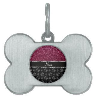 Patas púrpuras personalizadas del negro del brillo placas mascota