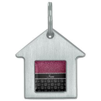 Patas púrpuras personalizadas del negro del brillo placa de nombre de mascota