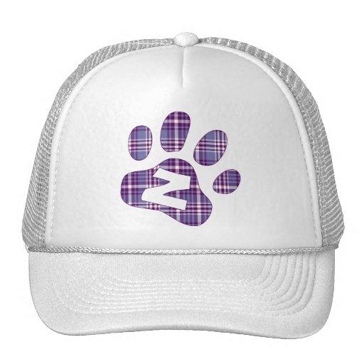 Patas púrpuras Z de la tela escocesa Gorros Bordados