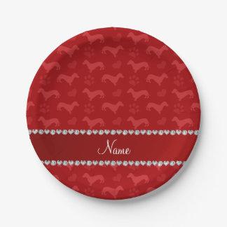 Patas rojas conocidas de encargo de los corazones platos de papel