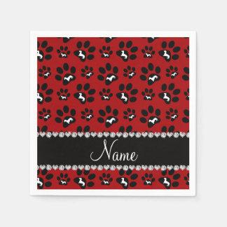 Patas rojas conocidas personalizadas del perro de servilletas desechables