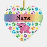 Patas rosadas conocidas personalizadas del arco adorno de cerámica en forma de corazón
