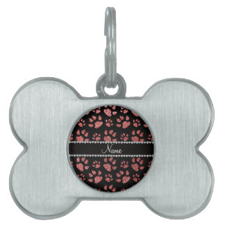 Patas rosadas coralinas conocidas personalizadas d placa de mascota