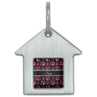 Patas rosadas fucsias conocidas personalizadas del placa mascota