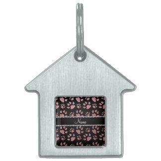 Patas rosas claras conocidas personalizadas del ga placa de nombre de mascota