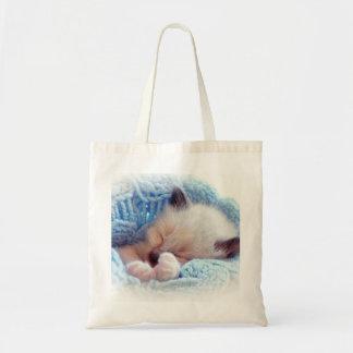 Patas siamesas del gatito el dormir bolsas de mano