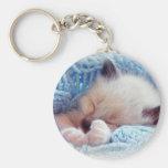 Patas siamesas del gatito el dormir llavero personalizado