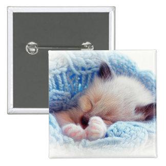 Patas siamesas del gatito el dormir pin cuadrado