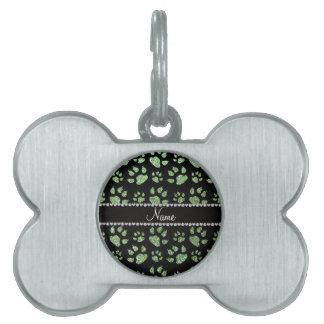 Patas verdes claras conocidas personalizadas del g placa de nombre de mascota