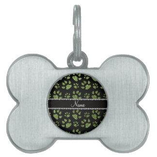 Patas verdes claras conocidas personalizadas del g placas de mascota
