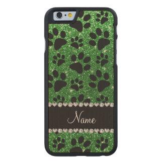 Patas verdes conocidas de encargo del perro negro funda de iPhone 6 carved® de arce