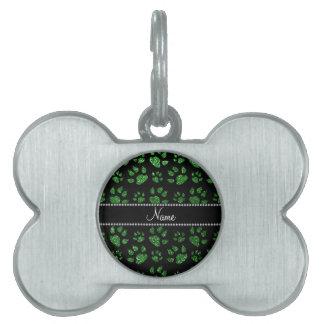 Patas verdes conocidas personalizadas del gato del placa de nombre de mascota