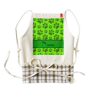 Patas verdes de neón conocidas personalizadas del delantal zazzle HEART