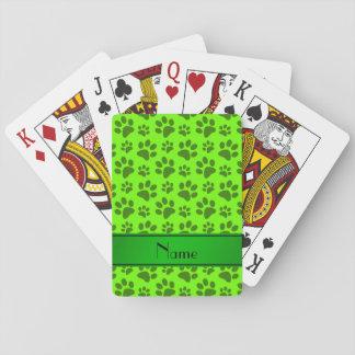 Patas verdes de neón conocidas personalizadas del baraja de cartas