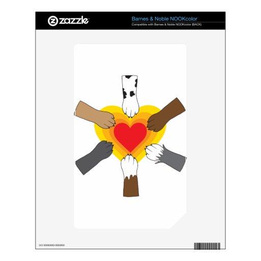 Patas y corazón calcomanías para NOOK color