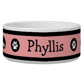 Patas y cuenco rosados retros personalizados del p comedero para mascota