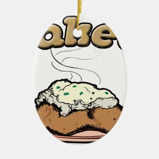 Patata cocida (e) adorno navideño ovalado de cerámica