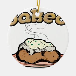 Patata cocida (e) adorno navideño redondo de cerámica