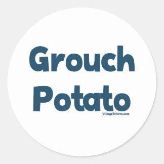 Patata del Grouch Pegatina Redonda