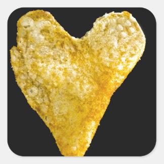 Patata frita en forma de corazón pegatina cuadrada
