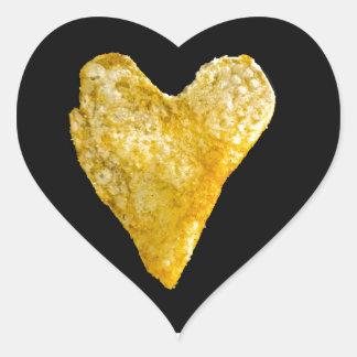 Patata frita en forma de corazón pegatina en forma de corazón