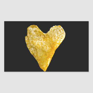 Patata frita en forma de corazón pegatina rectangular