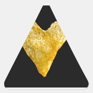 Patata frita en forma de corazón pegatina triangular