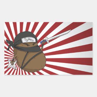 Patata Ninja Pegatina Rectangular