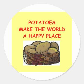 patatas de la patata pegatina redonda