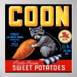 Patatas dulces de la marca del Coon Posters