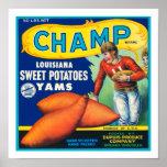 Patatas dulces del campeón del vintage posters