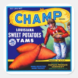 Patatas dulces del campeón calcomanias cuadradas