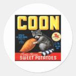Patatas dulces del Coon Pegatina Redonda