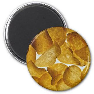 Patatas fritas curruscantes imán redondo 5 cm