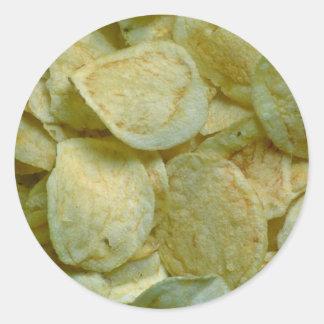 Patatas fritas curruscantes pegatina redonda