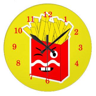 Patatas fritas de la novedad de la diversión reloj redondo grande