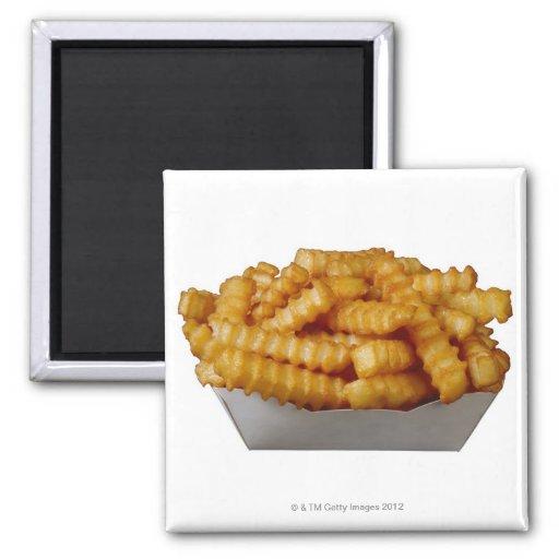 patatas fritas del Arruga-cut Imán Cuadrado