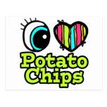 Patatas fritas del ojo del amor brillante del cora tarjetas postales