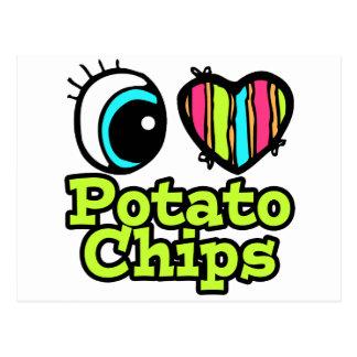 Patatas fritas del ojo del amor brillante del tarjeta postal