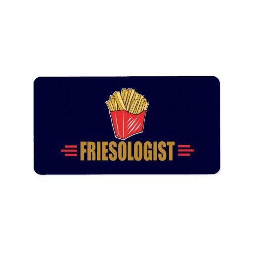 Patatas fritas divertidas etiqueta de dirección