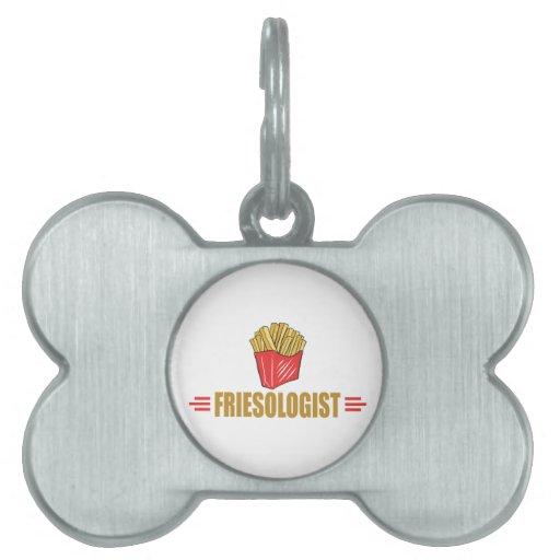 Patatas fritas divertidas placas de mascota